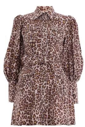 Zimmermann Resistance Safari Shirt Dress in Cameo Leopard