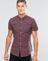 Asos Skinny Shirt In Red Plaid Check With Short Sleeves