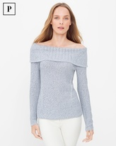White House Black Market Off-The-Shoulder Marled Shine Sweater