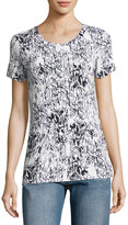 French Connection Sonny Sketchy Floral Slub Tee, White/Black