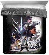 Star Wars Ep 8 Epic Poster Black/Gray Reversible Full/Queen Comforter with Rey, Finn, Poe, Kylo Ren, Luke Skywalker, Leia, BB-8, C3-PO, R2-D2 & Chewbacca