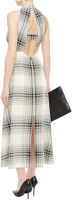 Roland Mouret Cutout Checked Wool-crepe Maxi Dress
