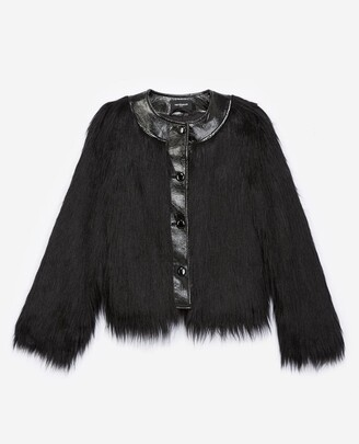 The Kooples Black faux fur coat with patent detail