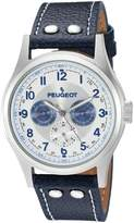 Peugeot Men's 'Stainless Steel' Quartz and Leather Aviator Watch, Color:Blue (Model: 1049SBL)