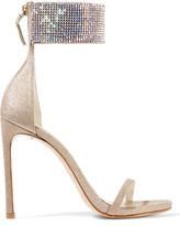 Stuart Weitzman Cufflove Embellished Glittered Mesh Sandals - Gold