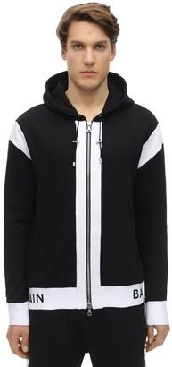 Balmain Logo Zip-Up Cotton Jersey Hoodie