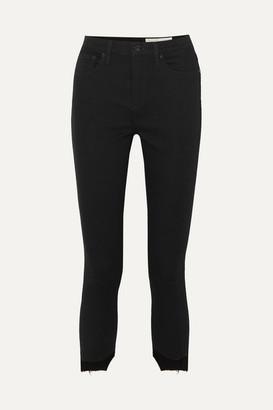 Rag & Bone Nina Cropped Distressed High-rise Skinny Jeans - Black