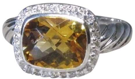 David Yurman 925 Sterling Silver Citrine and Diamond Ring Size 7