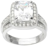 Journee Collection 4 1/2 CT. T.W. Emerald Cut CZ Basket Set Halo Ring in Sterling Silver - Silver
