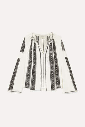The Great The Journey Embroidered Cotton-gauze Top - White