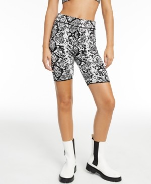 INC International Concepts Culpos x Inc Snake-Print Biker Shorts, Created for Macy's