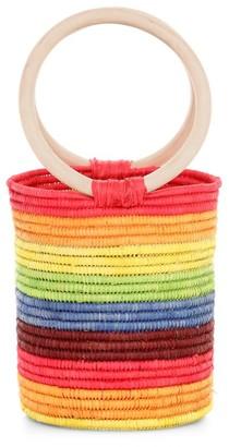 Poolside The Marley Rainbow Raffia Bucket Bag