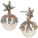 Betsey Johnson Gold-Tone Colored Pavé & Imitation Pearl Starfish Drop Earrings