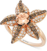 LeVian Le Vian Chocolatier Peach Morganite (5/8 ct. t.w.) and Diamond (7/8 ct. t.w.) Starfish Ring in 14k Rose Gold