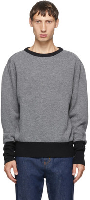 Random Identities Grey Wool and Cashmere Contrast Crewneck