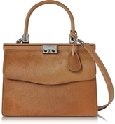 Rodo Light Brown Haircalf and Leather Top Handle Paris Bag