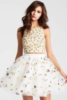 Jovani 54596 Two Piece Beaded Organza Short Dress