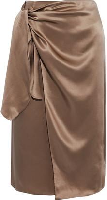Cinq à Sept Mya Silk-satin Wrap Skirt