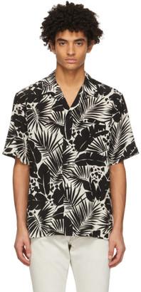 Saint Laurent Black and White Silk Tropical Shark-Collar Short Sleeve Shirt