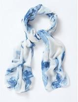 Apricot Blue White Tie Dye Print Long Line Scarf