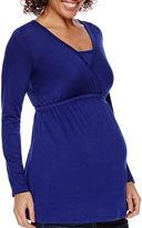 Asstd National Brand Maternity Long-Sleeve V-Neck Nursing Top-Plus