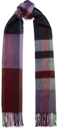 Chan Luu Fringed Checked Brushed-wool Scarf