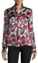 Saloni Emile Floral-Print Button-Front Silk Top