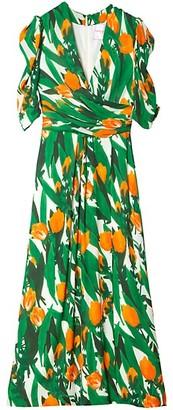 Carolina Herrera Draped Silk Puff-Sleeve Midi Dress