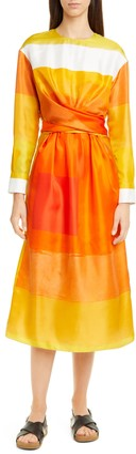 PARTOW Magnolia Long Sleeve Silk Twill Dress