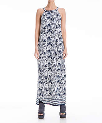 Max Studio Women's Maxi Dresses NVIVLPAV - Navy & Ivory Palm Leaf Racerback Maxi Shift Dress - Women