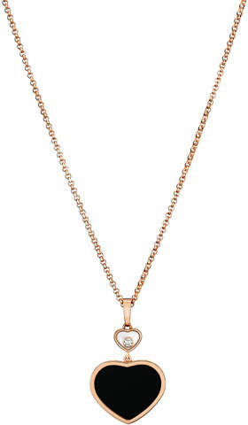 Chopard Happy Hearts Onyx & Diamond Pendant Necklace in 18K Rose Gold