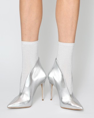 High Heel Jungle - Women's Silver Socks - Glitterati Socks - Size One Size, One size at The Iconic