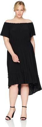 Karen Kane Women's Plus Size Off-The-Shoulder Ruffle Hem Dress