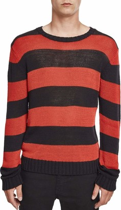 Urban Classics Men's Sweater Knitwear Jumper Longsleeve Shirt with Rib-Knit Cuffs and Dropped Shoulders Striped