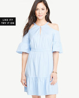 Ann Taylor Striped Poplin Cold Shoulder Dress