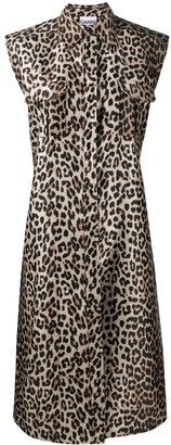 Ganni Leopard-Print Sleeveless Shirt Dress