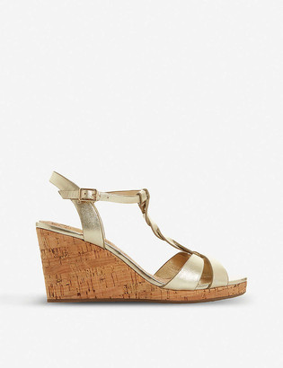Dune Koala T-bar strap cork wedge-heel sandals