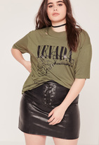 Missguided Plus Size Nevada Graphic T-Shirt Khaki