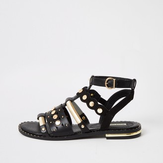 River Island Womens Black embellished gladiator sandals
