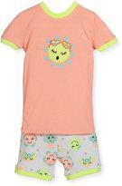 Petit Lem Sun Top & Shorts Pajama Set, Coral, Size 5-6X