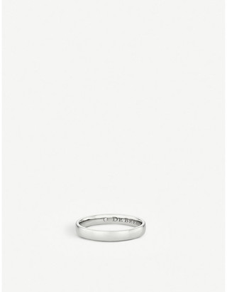 De Beers Women's Platinum Wide Court And Hidden Diamond Wedding Band, Size: 49mm