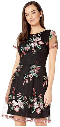 Adrianna Papell Cap Sleeve Floral Embroidered A-Line Dress (Black Multi) Women's Dress