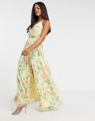 Lipsy plunge mesh front maxi dress cream floral print