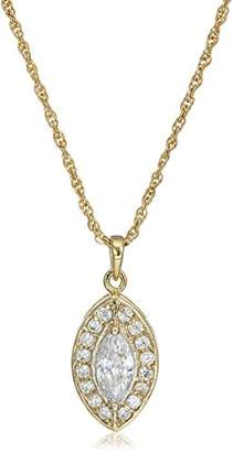 1928 Jewelry 14k Gold-Dipped Marquise-Shaped Cubic Zirconia Adjustable Pendant Necklace
