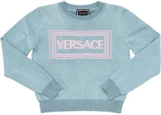 Versace Embroidered Lurex Blend Knit Sweater