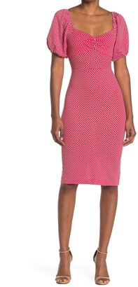 Betsey Johnson Short Puff Sleeve Polka Dot Print Midi Dress