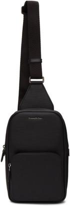 Ermenegildo Zegna Black Leather Messenger Bag