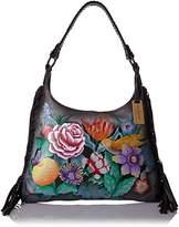 Anuschka Handpainted Painted Fringe Shoulder Hobo Bag,Vintage Bouquet