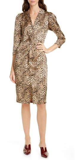 Rebecca Taylor Animal Print Hammered Silk Dress