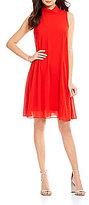 Vince Camuto Mock Neck Sleeveless Chiffon Dress